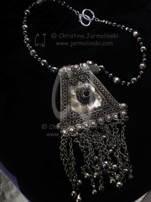 """Antique Afghan Pendant with Pyrite Beads """"ART JEWELRY""""by Christina Jarmolinski"""