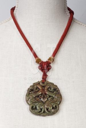 Tibetan Necklace with green Jade Pendant by Christina Jarmolinski