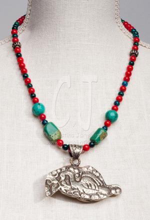 Good Luck Tibetan Elefant in Ornate Handcrafted Silver-reversed