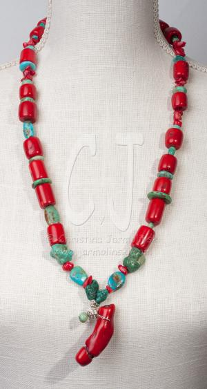 Tibetan Antique Corals and Turquoise Spirit by Christina Jarmolinski