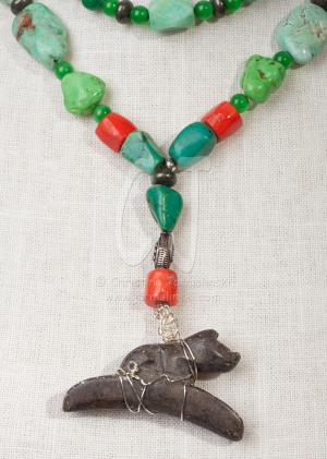 Vintage Two Strand Multi-Colored Necklace with Ancient Cat by Christina Jarmolinski