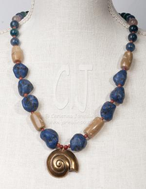 The Snail with Lapis Nuggests and Bamboo Coral by Christina Jarmolinski