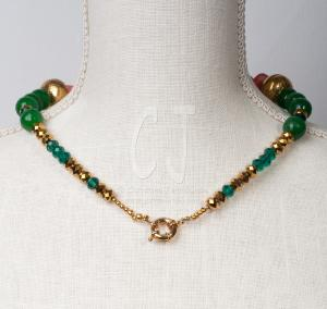 Coral Roots with Green Jade Choker by Christina Jarmolinski