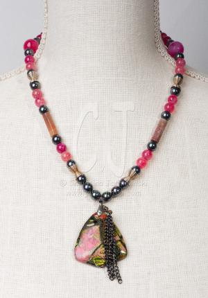 Pink Mosaic Necklace by Christina Jarmolinski