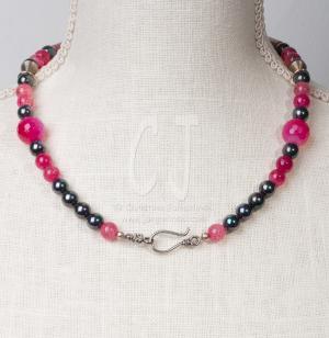 Pink Mosaic Necklace by Christina Jarmolinski