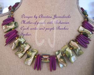 "Mother of Pearl and Purple Spikes ""ART JEWELRY""by Christina Jarmolinski"