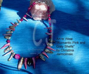 "Romantic pink and grey Oyster Shells ""ART JEWELRY"" by Christina Jarmolinski"