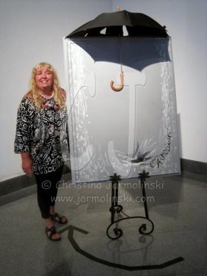 Rain Installation and me at Sydney & Berne Davis by Christina Jarmolinski