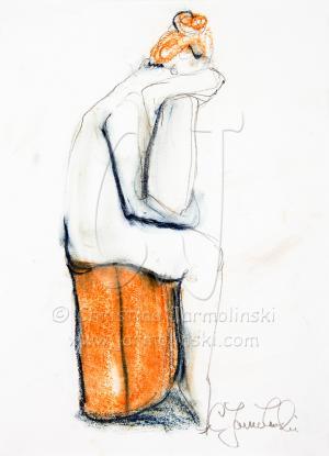 Nude sitting on a Barrel by Christina Jarmolinski