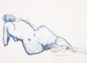 Nude in Blue Oil Pastel by Christina Jarmolinski
