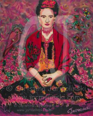 Frida in Fields of Flowers by Christina Jarmolinski