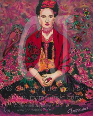 Frida in Fields of Flowers by Christina Jarmolinski
