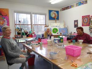 Students in the in the Mandala Workshop in my studio