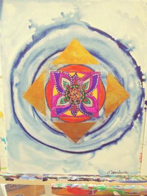 Go with the Light Within  Mandala- Zen Art  by Christina Jarmolinski