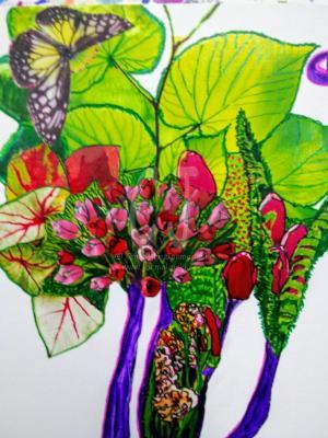 The Tulip Tree - Detail - Zen Art by Christina Jarmolinski