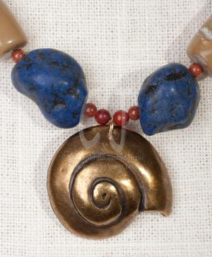 The Snail - Lapis Nuggets -Bamboo Coral  by Christina Jarmolinski