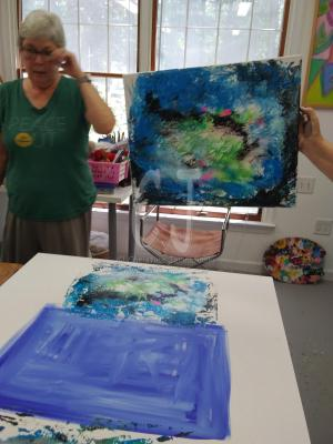 My student discussing her painting