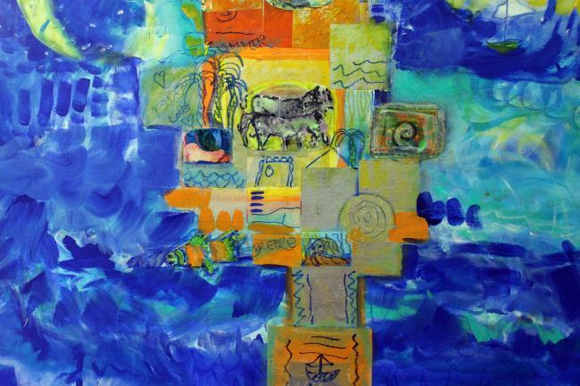 Island Breeze- Mixed Media by Christina Jarmolinski-Finished!