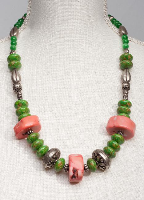 Coral with Tibetan Silver Beads and Green Turquoise Necklace