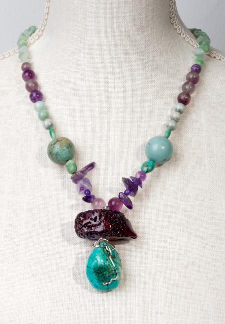 Turquoise - Amethyst - Coral Harmony by Christina Jarmolinski