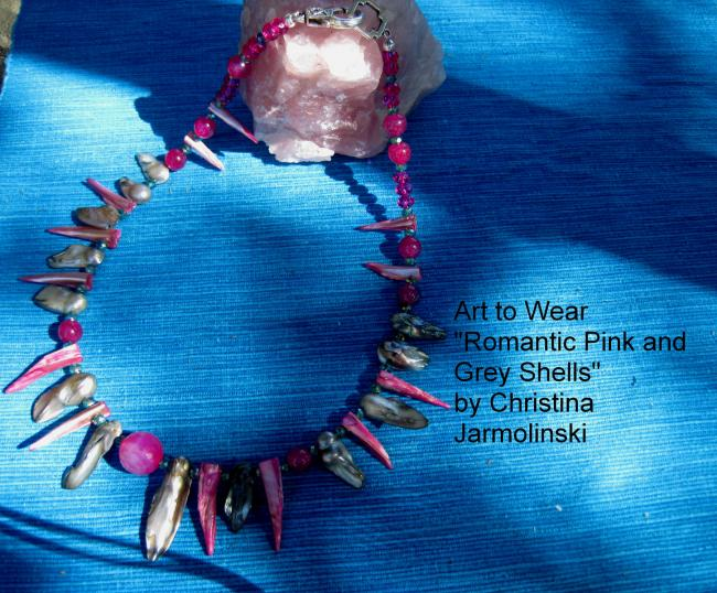 "Romantic pink and grey Oyster Shells ""ART JEWELRY"" by Christina Jarmolinski"