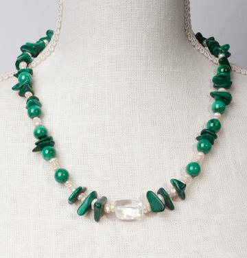 Malachite with Baroque Pearls and Clear Cyrstal Center Bead by Christina Jarmolinski