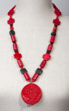 Cinnabar Delight- Carved Pendant by Christina Jarmolinski