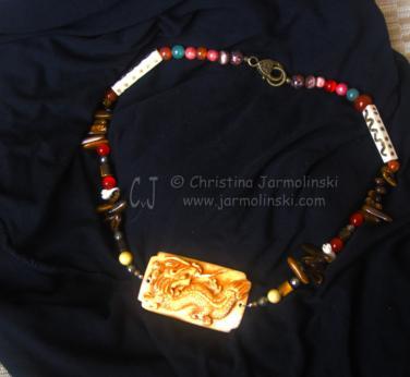 "Antique Jade Dragon ""ART JEWELRY"" by Christina Jarmolinski"