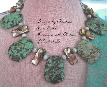 "Turquoise and Oyster Shells""ART JEWELRY""by Christina Jarmolinski"