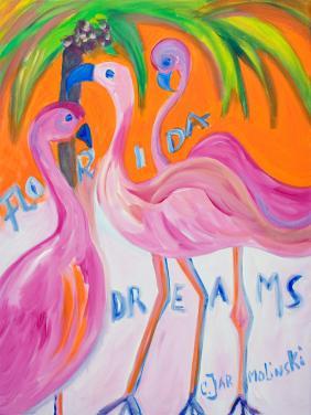 Flamingos under Palms by Christina Jarmolinski