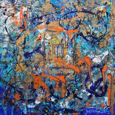 Abstraction in Blue and Orange by Christina Jarmolinski