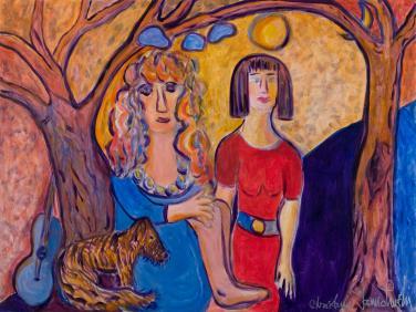 Two Friends sitting under Trees with Dog by Christina Jarmolinski