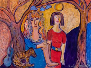 Two Friends sitting under Trees with Dog by Christina Jarmolinski