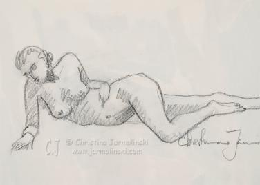 Nude leaning on her Elbow by Christina Jarmolinski