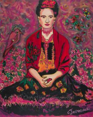 Frida in a Field of Flowers by Christina Jarmolinski
