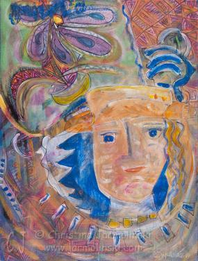 Blue and Orange Flowered Hat by Christina Jarmolinski