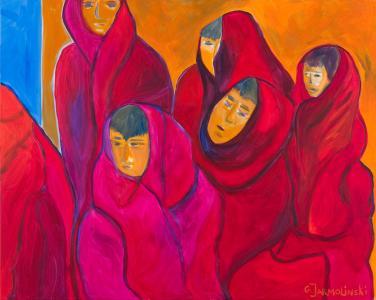 Young Buddhist Monks by Christina Jarmolinski