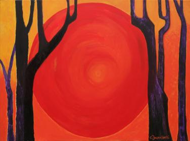 Sunset in the Forest - Zen Art  by Christina Jarmolinski