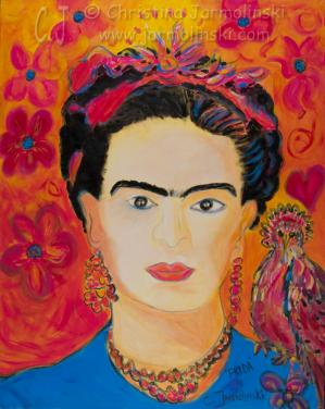 Interpretations of Frida Kahlo by Christina Jarmolinski on canvas