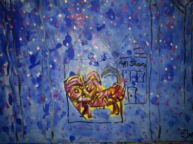 Dog Walk  mixed media by Christina Jarmolinski
