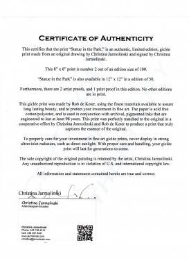 Certificate of Authenticity of Christina Jarmolinski Fine Art